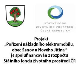 """Projekt """"Pořízení nákladního elektromobilu, obec Šenov u Nového Jičína """" je spolufinancován zrozpočtu Státního fondu životního prostředí ČR"""